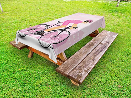 Lunarable Bicycle Outdoor Tablecloth, Cycling Man in Pink Jersey and Hard Hat on City Silhouette, Decorative Washable Picnic Table Cloth, 58