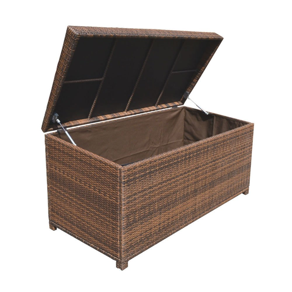 Style 2 ESPRESSO 64'' x 30'' x 30'' Large Wicker Storage Box Chest Deck Poolside Storing Patio Case