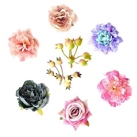B Blesiya Paquete De 8 Cabeza De Flor De Peonía Artificial ...