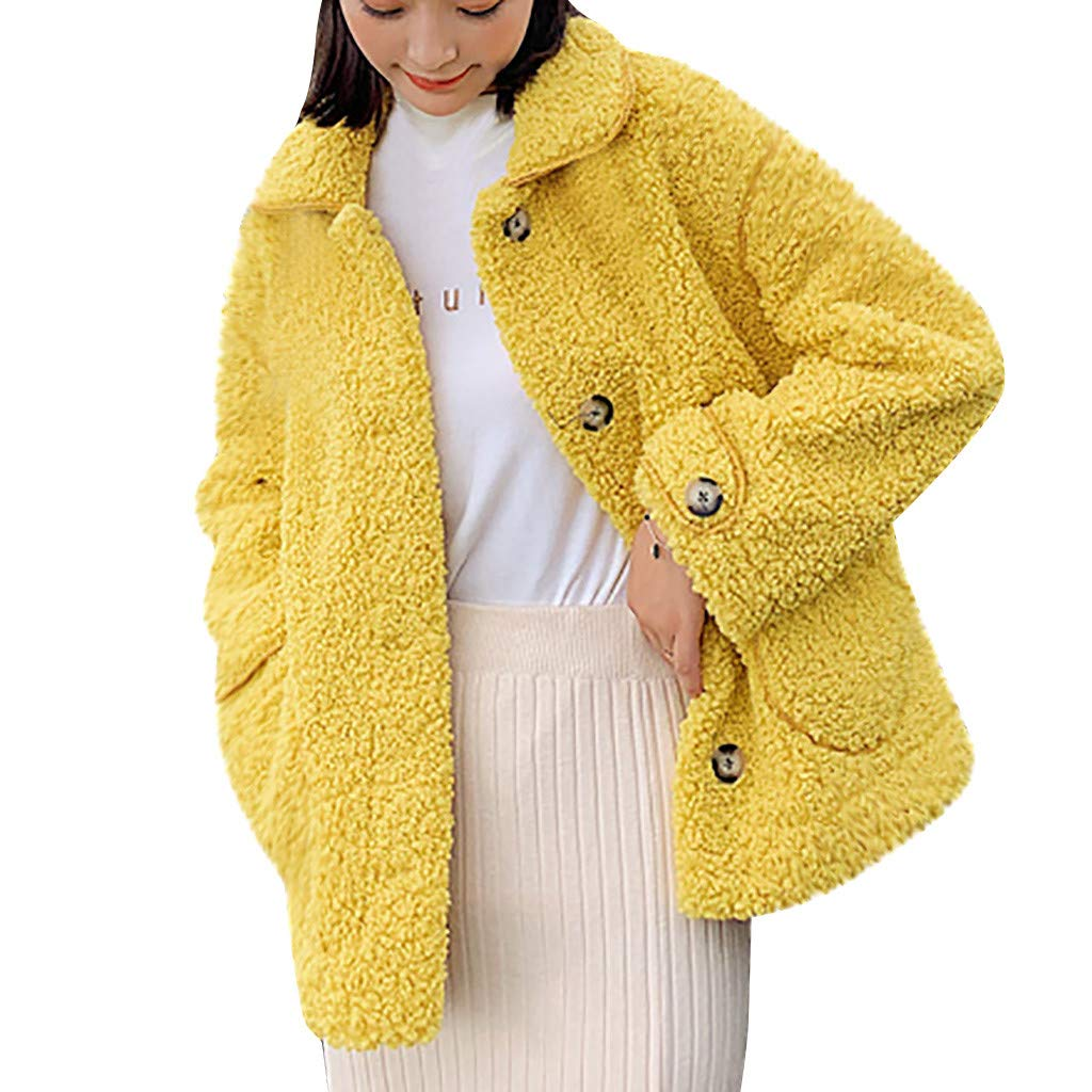 Wenini Women Outwear Plush Coat Long Sleeve Lamb Hair Stand Collar Warm Coat Plush Jacket Overcoat by Wenini