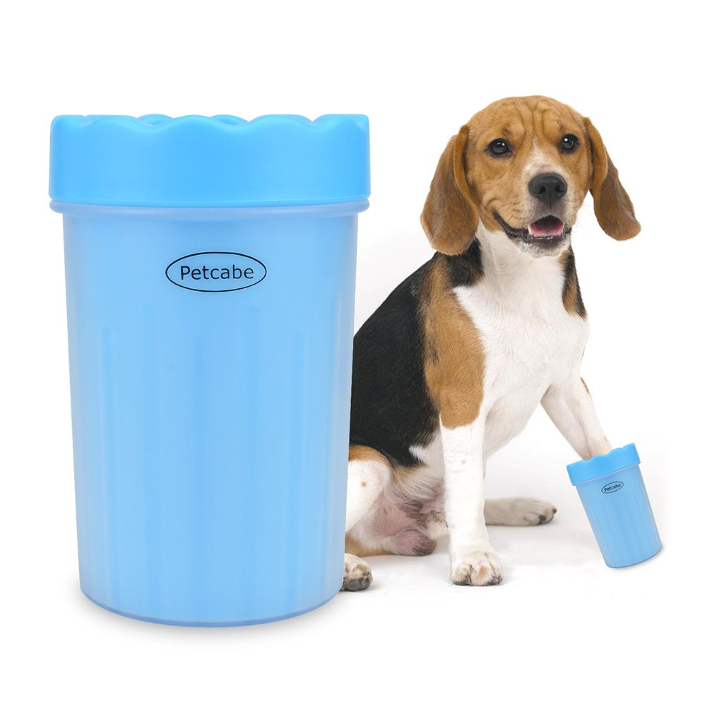 Petcabe Portable Dog Paw Cleaner Pet Cleaning Brush Cup Dog Foot Cleaner (Medium, Blue)