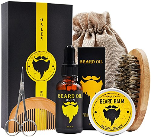 Mens gfits for Men/Dad/Husband Grandpa Beard Care Grooming Kit Beard Oil+Beard Balm +Beard Brush+Beard Comb+Barber Scissors for Styling Shaping (B2)