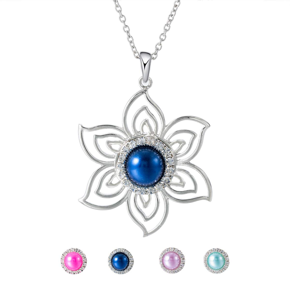 Interchangeable Necklace Ginger Chunk Charm with 4 Pearl Rhinestone Snap Buttons for Women