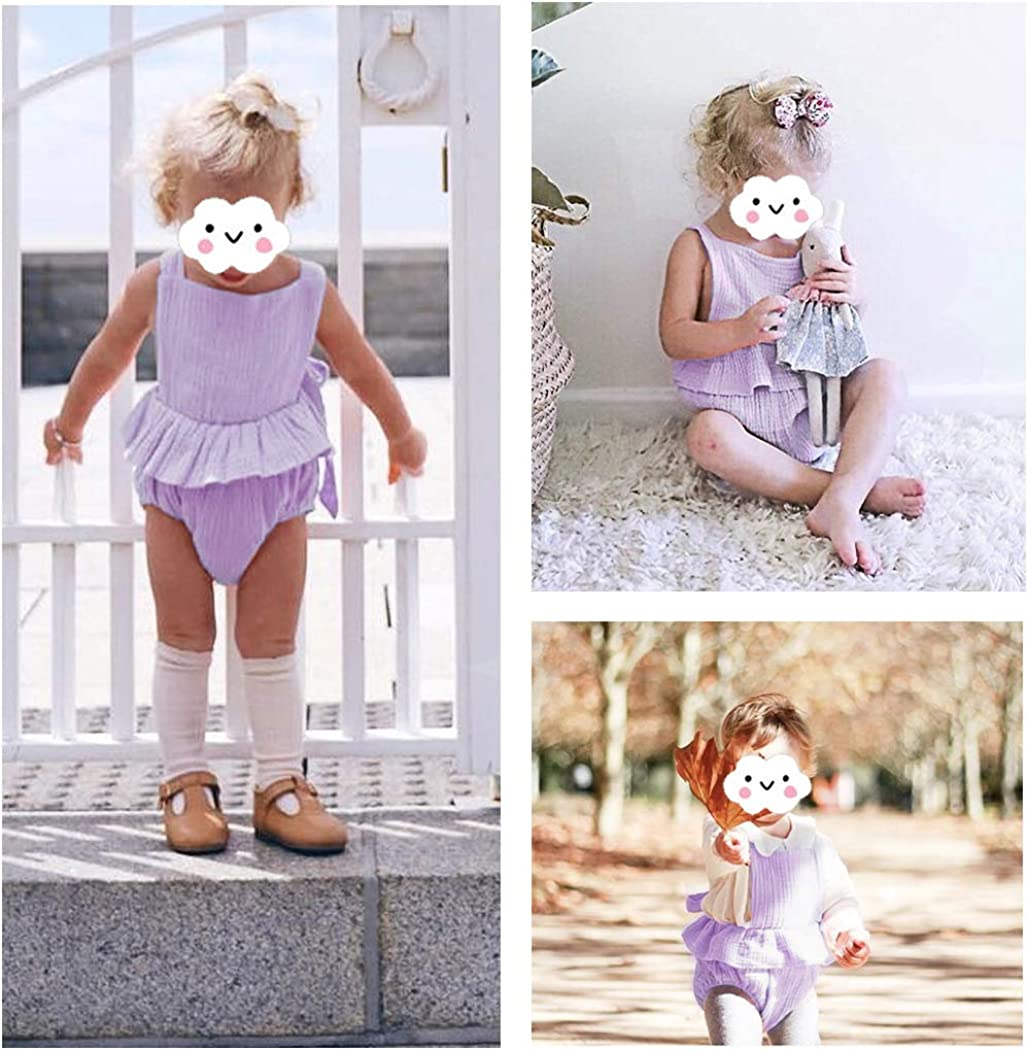 MetCuento Newborn Baby Girl Romper Bodysuits Cotton Flutter Sleeve One-Piece Romper Outfits Clothes
