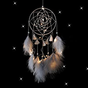 Nice Dream LED Dream Catcher, Handmade Dream Catchers for Bedroom Wall Hanging Home Decor Ornaments Craft (Grey)