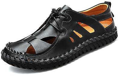 Amazon Com Odema Mens Summer Leather Size Plus Closed Toe Slip On