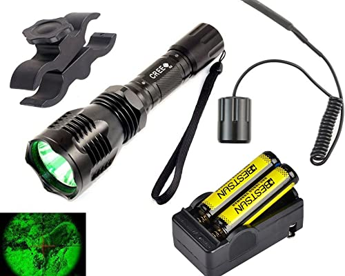 BESTSUN Green Light Predator Light Tactical Led Hunting Flashlight Set 350 Yards Green Cree LED Coyote Hog Fox Varmint Hunting Lamp Torch Kits with Pressure Switch, Scope Mount,18650 Battery, Charger