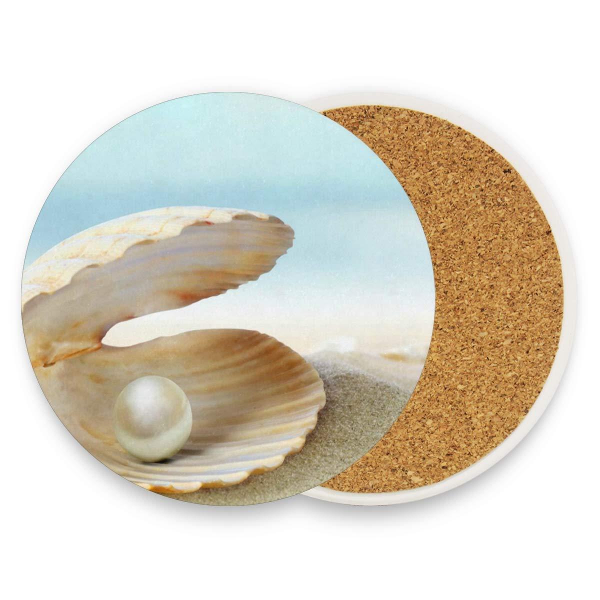 海洋の動物コースター、御影石、ガラス、石鹸石、砂岩、大理石、石のテーブルの保護 - 完璧なコルクコースター、ラウンドカップマットパッド、自宅、キッチン、バー用 set of 4 レッド g20320087p294c331s586 set of 4 パターン3 B07Q5W39KD