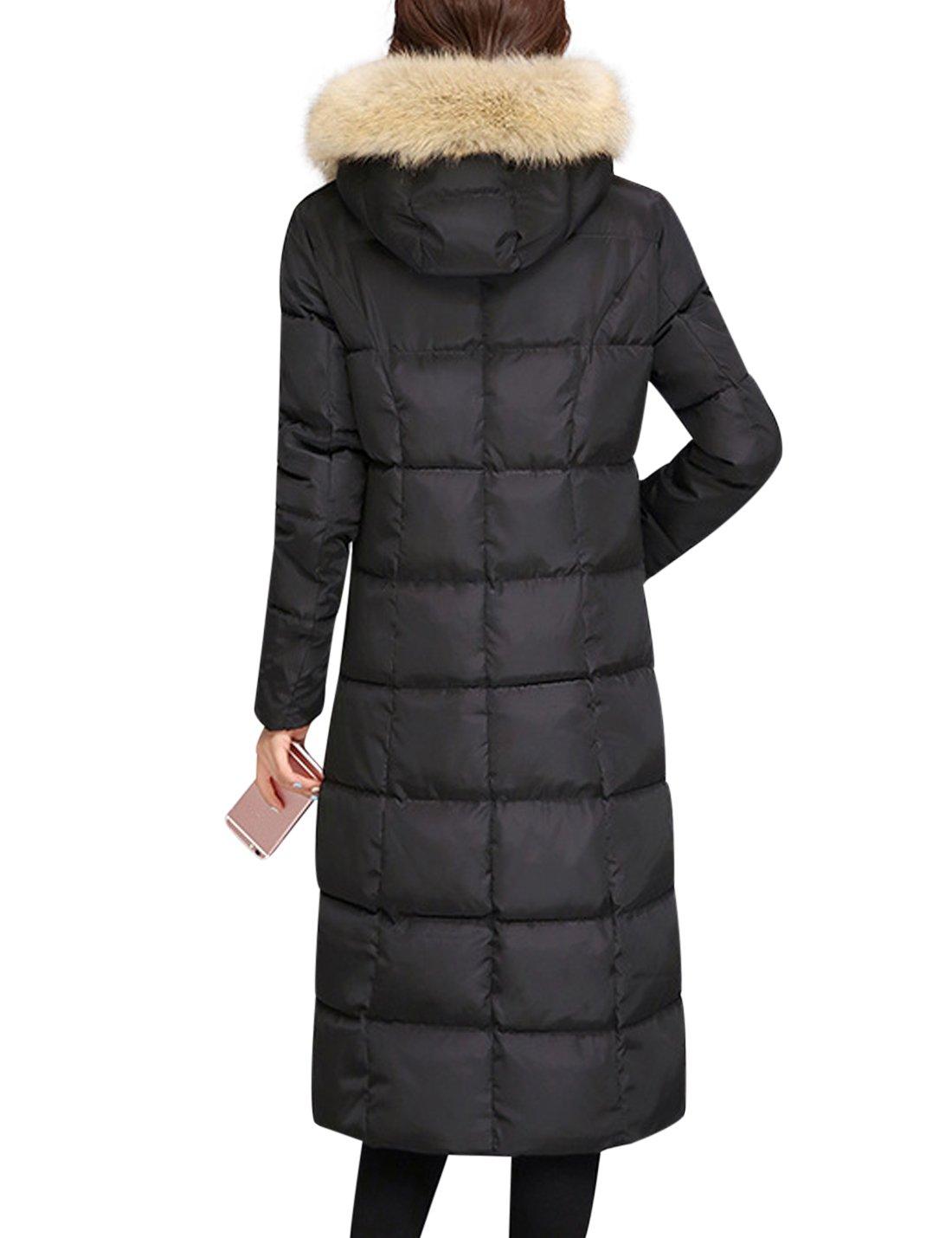 Tanming Women's Winter Cotton Padded Long Coat Outerwear With Fur Trim Hood (Large, Black) by Tanming (Image #2)