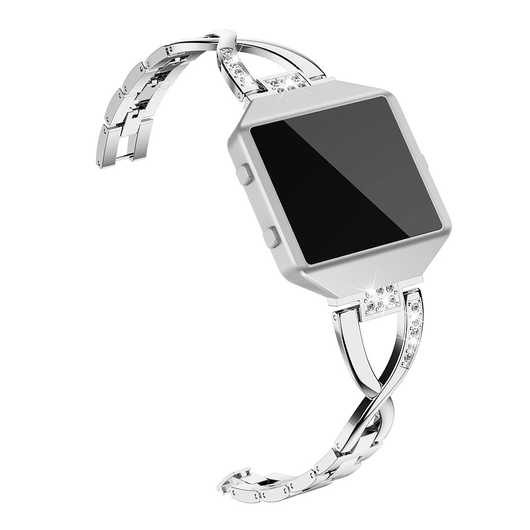 Wearlizer Replacement Metal Bands for Fitbit Blaze Band for Women with Frame Large Small Accessories X Style Silver