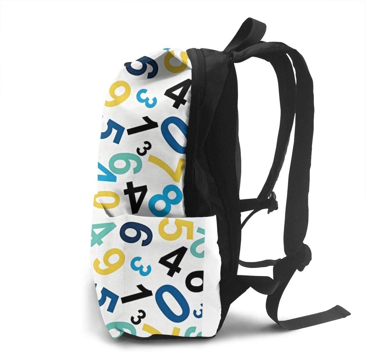 Number Seamless Pattern Backpack,Ultralight Foldable Packable Backpacks Lightweight Backpack Bag for School