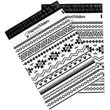 Inspired Mailers Poly Mailers 10x13 Southwest Tribal Pattern – Pack of 100 – Unpadded Shipping Bags (Black/White)