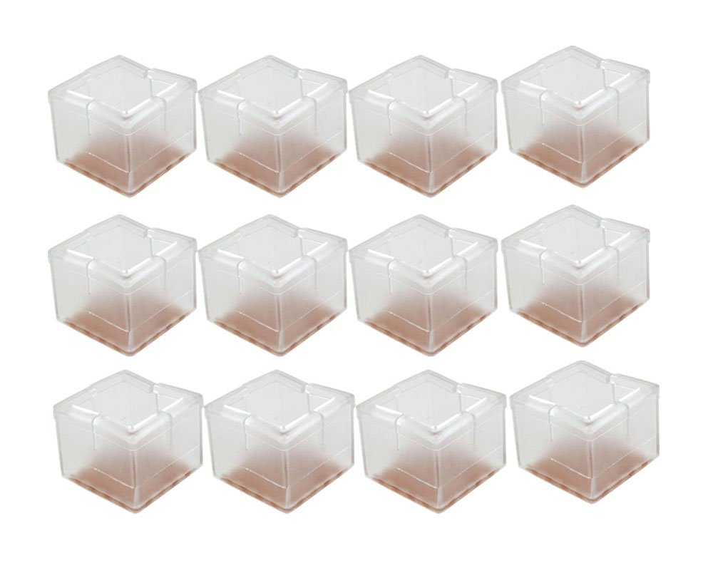 yueton 12pcs 1-5//16 Inch Square Shape Transparent Silicone Chair Leg Caps Feet Pads Furniture Table Covers Wood Floor Protectors