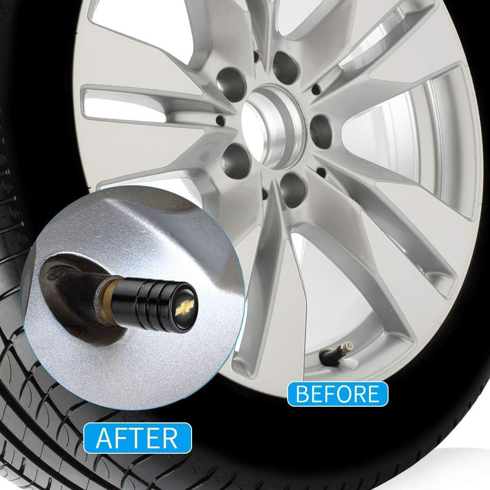 IJUSTBY 4 Pcs Metal Car Wheel Tire Valve Stem Caps for Chevrolet Car Silverado Colorado Suburban Tahoe Malibu Camaro Cruze Equinox Sonic/Logo Styling Decoration Accessories.