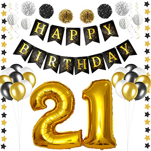 21st Birthday Decorations - Black and Gold 21st Birthday Banner for Women and Men 21st bday Decorations - Pom Pom Flowers - Swirls - Honeycomb Balls - Balloons - Star Garlands - Party Supplies Bundle