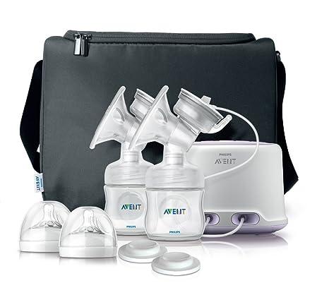 Philips Avent SCF334/02 - Sacaleches doble, extractor de leche eléctrico, con cojín masajeador suave, biberón y bolsa de viaje