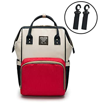 28534fefb Amazon.com : Mummy Bag Multi-Function Large Capacity Backpack Mother and  Infant Bag Fashion Mother Backpack Out Diaper Bag (red, White, Blue) : Baby