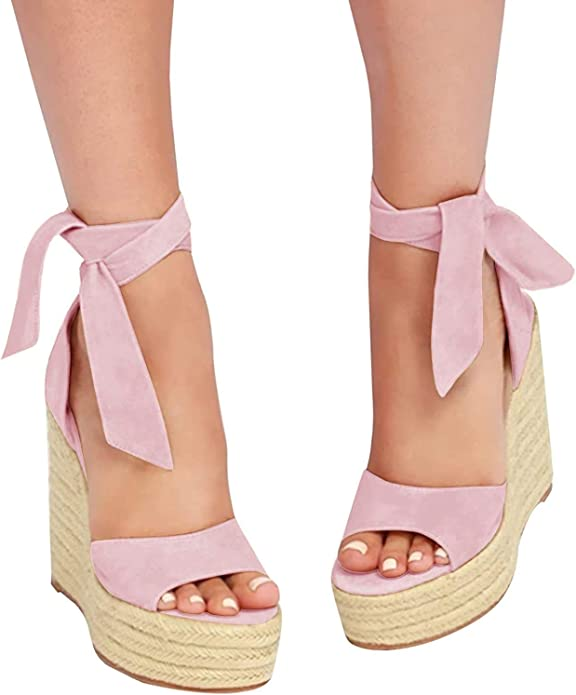 Liyuandian Womens Platform Espadrille Wedges Open Toe High Heel Sandals with Ankle Strap Buckle Up Shoes