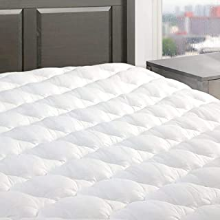 """product image for eLuxurySupply Five Star Mattress Pad - Premium Extra Plush Mattress Topper w/Fitted Skirt - Down Alternative Pillow Top Mattress Cover Made in The USA Fits Mattresses Up to 18"""" - Twin XL Size"""