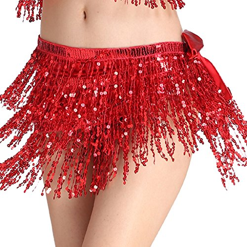 MUNAFIE Women's Belly Dance Hip Scarf Performance Outfits Skirt Festival Clothing Red,One Size