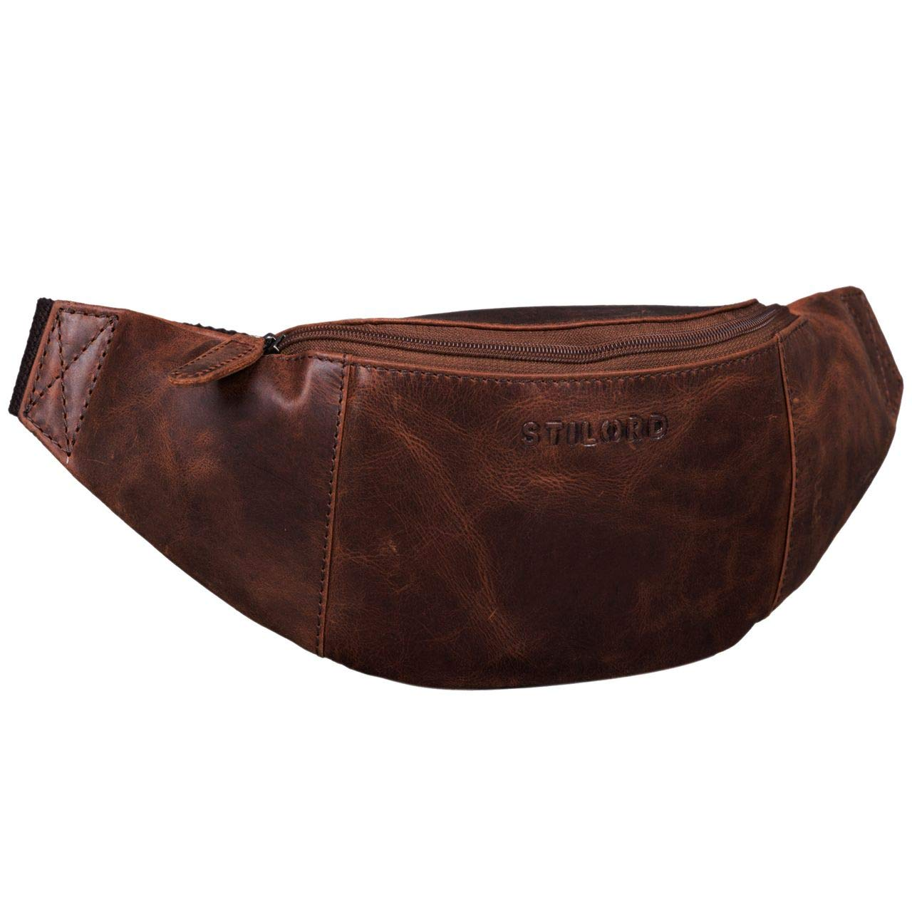 STILORD 'Shawn' Large Bum Bag Leather Pouch Bag Fanny Pack Vintage Belt Bag for Men and Women Festival Travel Genuine Leather, Colour:Antique - Used
