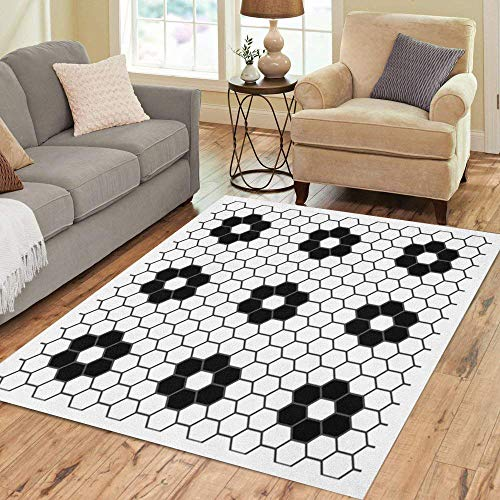 Semtomn Area Rug 2' X 3' Abstract Black and White Hexagon Tiles Flower Pattern Mosaic Home Decor Collection Floor Rugs Carpet for Living Room Bedroom Dining Room