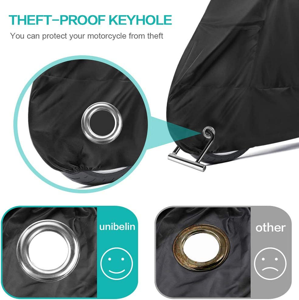 Waterproof Motorbike Cover 190T with Lock Holes against Dust UV Bird Droppings Outdoor motorcycle cover Protective Cover All Season Motorbike Scooter Cover unibelin Motorcycle Cover 265 x105x 125 cm