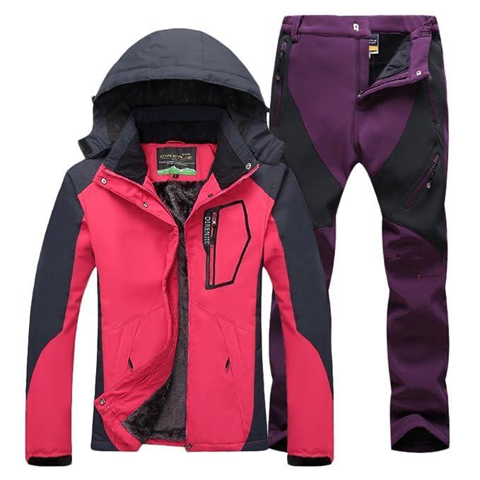 Qitun Mujer de Trekking Impermeable Deportivos Transpirable Pantalones Chaqueta de Esquí Impermeable Chaqueta de Nieve Excursionismo Conjunto RoseMorado ...