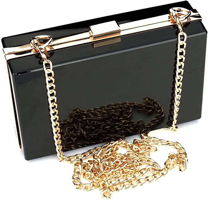 1940s Handbags and Purses History Women Cute Clear Acrylic Box Clutch Bag Transparent Approved Crossbody Purse Evening Bag Shoulder Clutch $18.99 AT vintagedancer.com