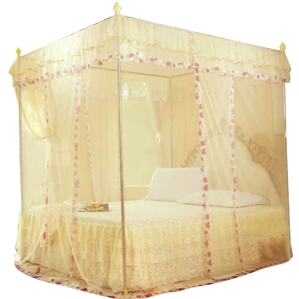 120 * 200 * 200-Yellow Luxury Princess 3 Side Openings Post Bed Curtain Mosquito Net Canopy Netting Mosquito Net Bedding for Girls to King Size Beds Quick and Easy Installation System