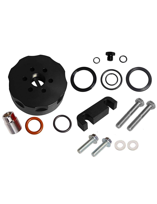 BLACKHORSE-RACING Fuel Filter Adapter &Spacer &Bleeder &Seal Kit Black Fit for 2001 2002 2003 2004 2005 2006 Chevy Duramax