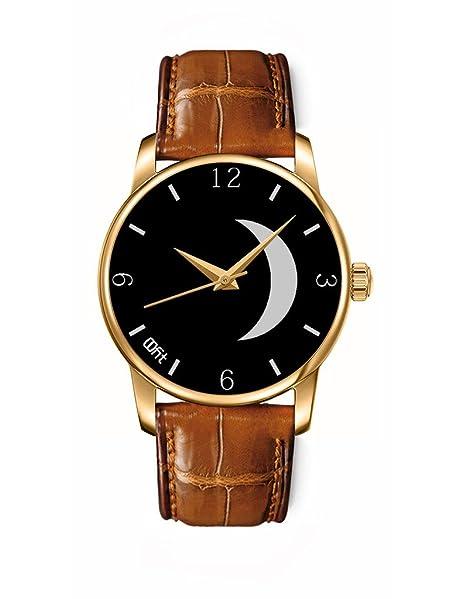 Reloj mujer reloj niños Cuarzo Analógico Reloj Redondo Dorado Pulsera Cuero Negro satélite gris y negro