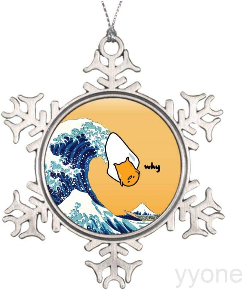 yyone Christmas Ornaments,Gudetama's Great Wave Snowflake Ornaments Gift Tags Decor for Holiday Party,Crafting,Wedding,Christmas Trees and Embellishing