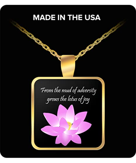 Amazoncom Lotus Necklace With Quote From The Mud Of Adversity