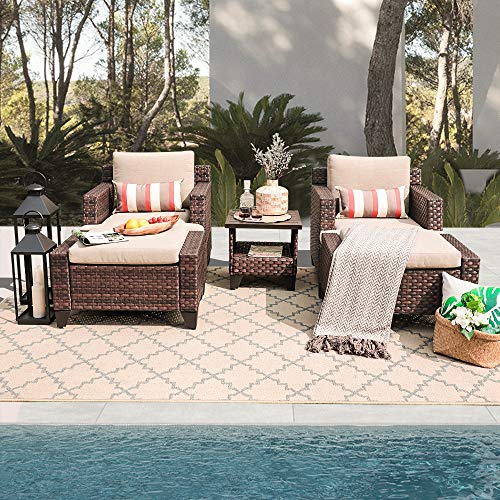 SUNSITT 5-Piece Outdoor Rattan Furniture Set Brown Wicker Lounge Chair Sofa & Ottoman with Beige Cushions & Side Table w/Aluminum Slatted Top