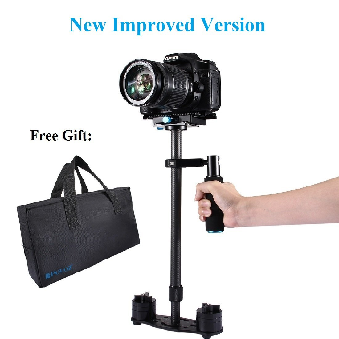 DSLR Handheld Stabilizer, PULUZ 24'' 60cm Professional Carbon Fibre Video Stabilizing Support for Canon Nikon Sony Panasonic & other Digital SLR Cameras, Max Load:3kg/6.6lb