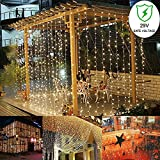 Auelife Curtain Icicle Lights, 9.8ft x 9.8ft, 300LED 8 Modes Fairy String Lights, for Wedding Holiday Party Home Garden Backdrop, UL Listed(Warm White)