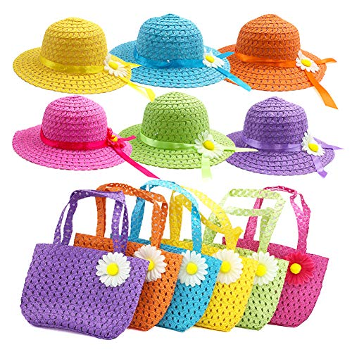 y Straw Sun Hat and Purse Sets Kids Child Birthdays Easter Party Daisy Flower Sunflower Summer Beach Cap Travel Gift Assorted Colors (6Color) ()
