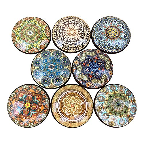 Set of 8 Oriental Mandala Earthtone Cabinet Knobs