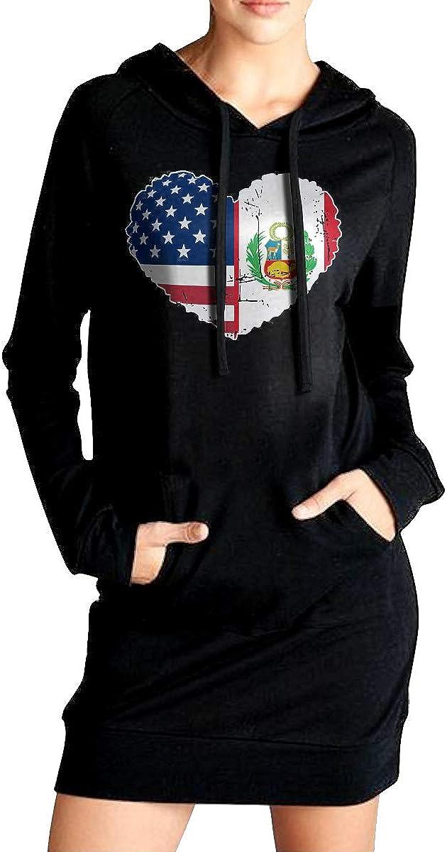 Peru USA Flag Heart Coat with Pockets ADA/&KGH Womens Slim Fit Fleece Long Hoodies Dress