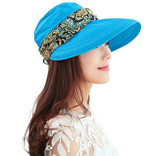 Weshiny Women s Summer Adjustable Wide Brim Sun Hat Cotton UPF 50+ Sun  Protection Hat Visor 5abfab0e59c2