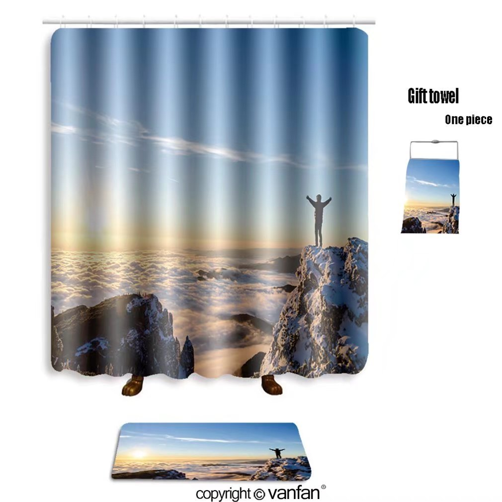 vanfan bath sets with Polyester rugs and shower curtain hiker celebrating success on top of a mountai shower curtains sets bathroom 72 x 92 inches&31.5 x 19.7 inches(Free 1 towel and 12 hooks)