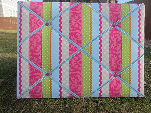 Photo/Memo Board - Pink, Green, and Blue (Pink Stripe Fabric Memo Board)