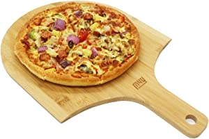 M4Y Bamboo Pizza Peel Multifunction as Cutting Board and Cheese Serving Tray and Personal Pizza Paddle, 12 Inch, 1 Pack Pizza Tray