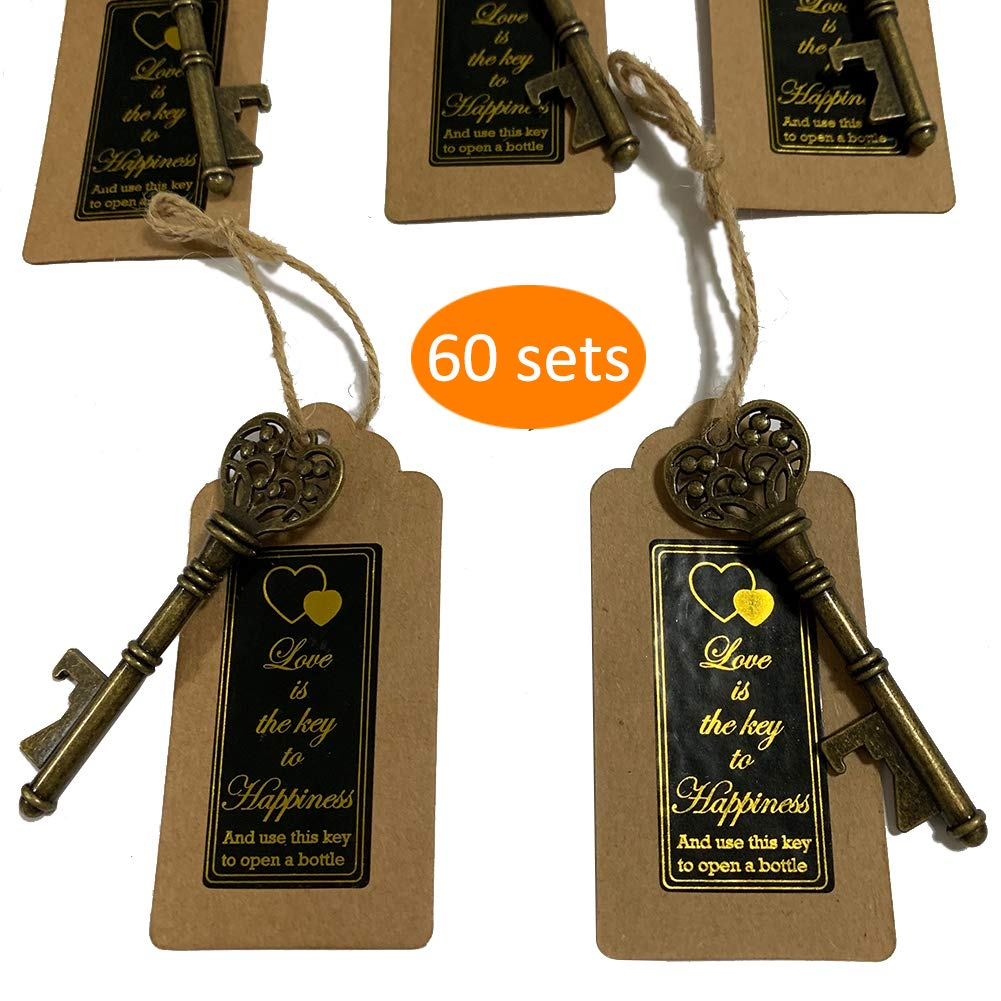 Key Bottle Openers 60 packs- with Escort Tag Card, Love is the Key to Happiness Sticker, Wedding Party Favors, Thanksgiving, Baby Shower and Special Events Decoration (Bronze Vintage Style)