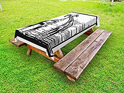 Ambesonne Giraffe Outdoor Tablecloth, Woodcut Style African Endemic Animals Fauna Sketch Monochrome Pattern, Decorative Washable Picnic Table Cloth, Charcoal Grey and White