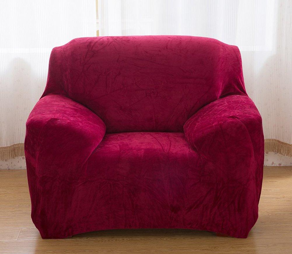 Copridivano spesso per sofà a 1/2/3/4 posti, colorato, in tessuto elasticizzato vellutato per un'aderenza perfetta e facile, Gray, 1 Seater:90-140cm tifee