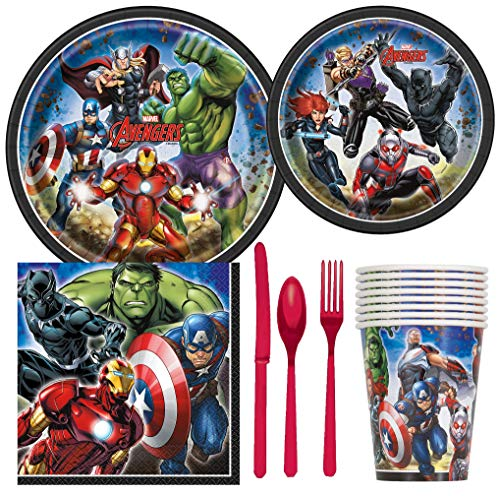 Unique Industries Marvel Avengers Superhero Birthday Party Supplies Pack Including Cake & Lunch Plates, Cutlery, Cups & Napkins for 8 Guests ()