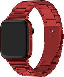 Fullmosa Compatible Apple Watch Band 42mm 44mm 38mm 40mm, Stainless Steel iWatch Band for Apple Watch Series 6/5/4/3/2/1/SE, 38mm 40mm Red