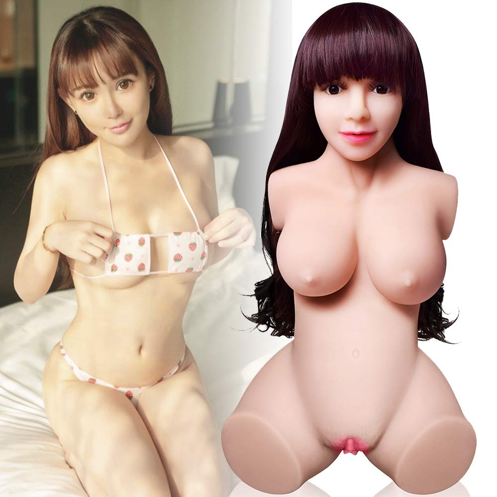 Life Size Silicone Full Body Realistic Dolls for Men - Lifelike Women Torso with Flexible Metal Skeleton Male Adult Relax Fun Toys with 3 Entries